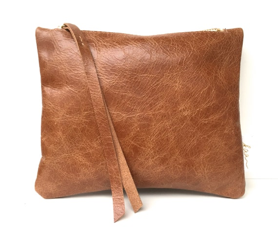 Leather pouch brown, brown leather purse, small leather bag brown