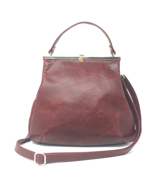 red leather bag ,handbag winered, leather purse red