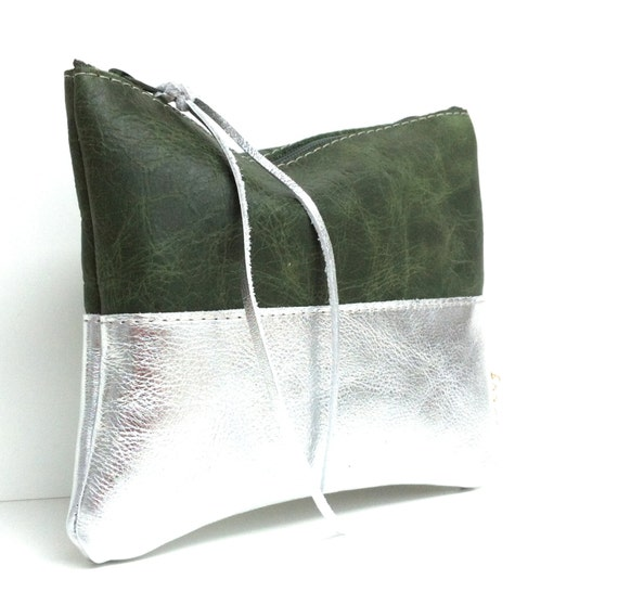Leather case, cosmetic bag, green leather, leather silver, simple cosmetic bag