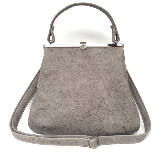"leather bag,handbag grey leather, ""STONE"","