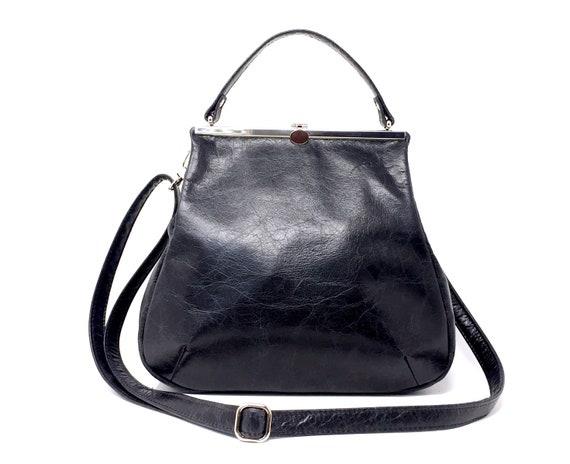 "leather bag, kaa berlin, Klipper ""PALISANDER"", handbag black"