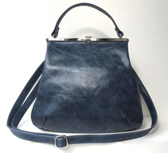 leather bag,handbag blue leather