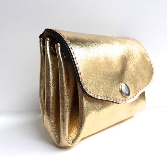 Wallet leather gold , leather wallet in gold , leather purse, leather wallet , gold leather