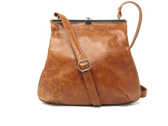 "Leather bag , leather handbag , "" Amber ""  handbag , cognac , orange , evening bag , strap closure , metal closure"
