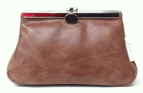 """Leather cosmetic bag, """" CACAO """" ,cosmetic purse,kaa berlin , makeup bag, Clutch Bag, Brown"""