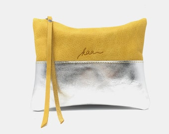 Leather pouch yellow, leather purse, small leather bag