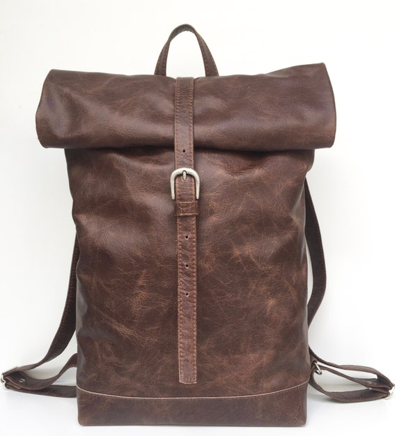 "Leather backpack , rolling backpack , backpack leather , drakbrown leather backpack""BLACK BEAUTY"""