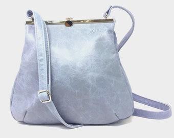 Leather bag, leather bag blue, leather hand bag, shopper leather
