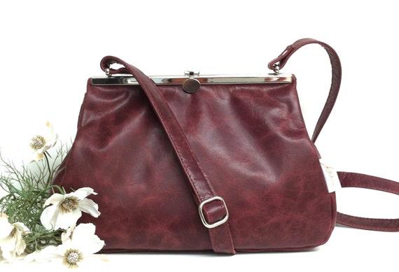 "Leather bag , leather handbag , handbag red leather, shoulder bag , Clipper SMALL, ""RUBIN , handbag with snap"