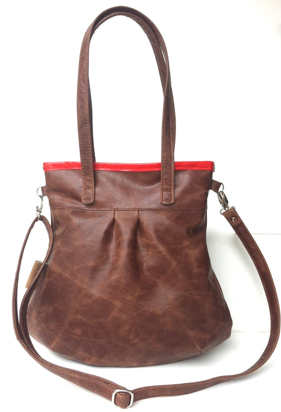 """Leather handbag , Leather Shoulder Bag """" SHELLY BAG """" Cacao"""