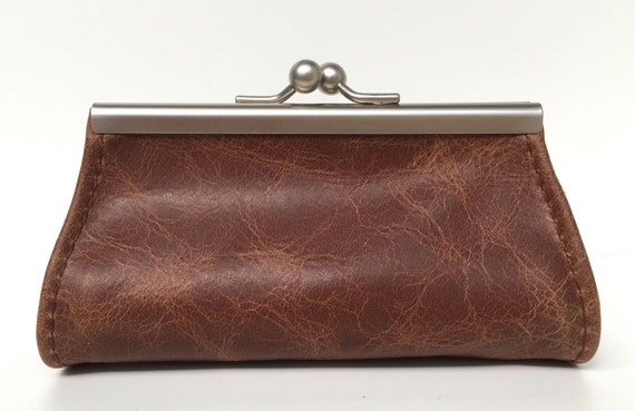 """Purse , wallet leather , """" CACAO """" , brown leather wallet"""