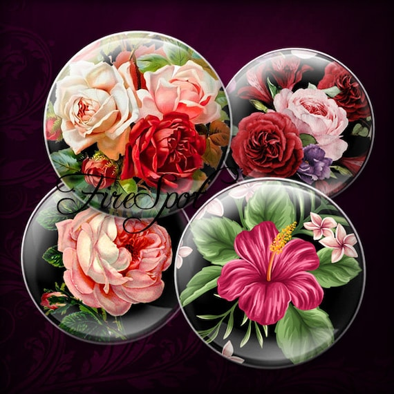 25mm Roses Collage Sheet Circle Images for Jewelry Making Scrapbooking and More