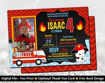 Firefighter Fireman Fire Truck Birthday Invitation with FREE Back Design!