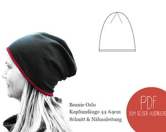 Schnittmuster Beanie Oslo, ebook Beanie, Mütze, Damen, Herren, Kinder, Unisex, PDF, Schnittbox