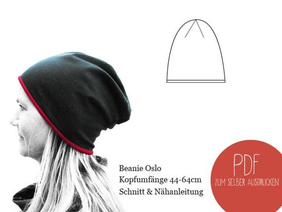 Schnittmuster Beanie Oslo ebook Beanie Mütze Damen Herren | Etsy