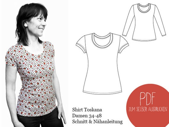 Schnittmuster Shirt Toskana ebook Shirt Toskana PDF ebook | Etsy