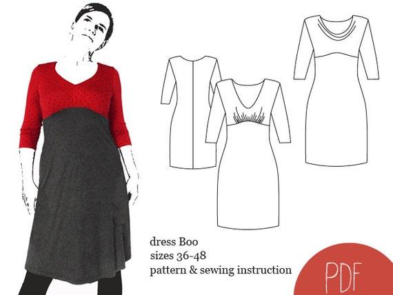 Schnittmuster Kleid Boo ebook Kleid Empirekleid PDF | Etsy