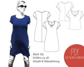 Schnittmuster Kleid Ely, Schnittmuster Shirt Ely, Kleid, ebook, PDF, Damen, Basic kleid, Basicshirt,