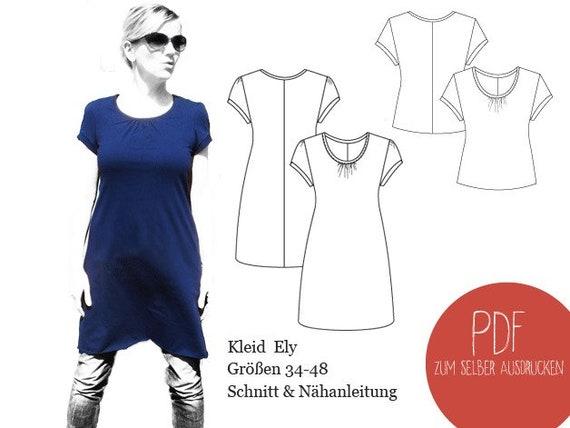 Schnittmuster Kleid Ely Schnittmuster Shirt Ely Kleid | Etsy