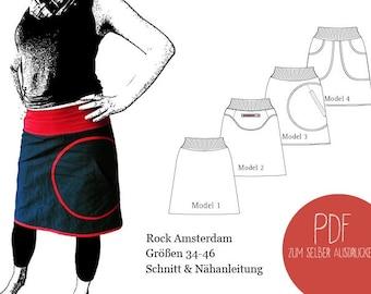 Schnittmuster Rock mit Bund, ebook Rock mit Bund, 4 Varianten, PDF, Damen, Schnittbox