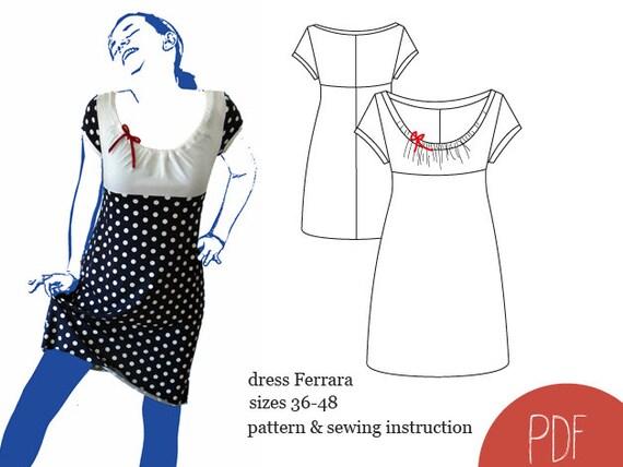 Schnittmuster Kleid Ferrara ebook Kleid Schnittmuster | Etsy