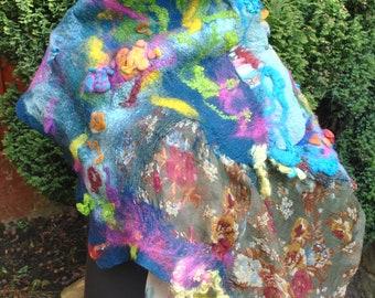 UNIQUE SCARF hand felted scarf merino wool felt scarf Felt Perfect GIFT Idea Art to Wear Blue Rainbow Nuno Felt Silk