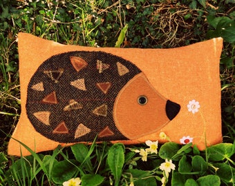 Hedgehog Cushion.  A tactile wool cushion.  Hedgehog pillow.  Complete with feather pad.