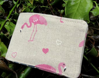 Travelcard Sleeve.  A travelcard cover with a flamingos design.  Oystercard Sleeve.
