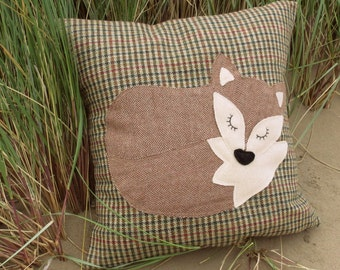 Fox Pillow cover.  Snoozy fox.  A large cushion cover.  To fit a 20 inch cushion pad   (50.5cm)