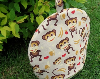 Large Tea Cosy.  Monkeys Design.  A tea cosy made to fit a 4-5 cup teapot.  Tropical Decor.