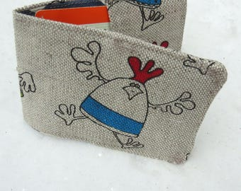 Travelcard Sleeve.  Chickens design. Oyster Card Holder.