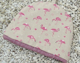 A tea cosy with a flamingos design.  Tropical decor.  To fit a 4 - 5 cup teapot.  Large tea cosy.