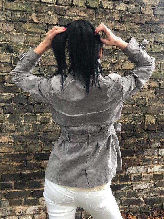 Elegant gray women suede jacket.