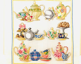 Handmade Crossstitch Teapots Afternoon Tea Teatime Vintage Embroidery Ready to Frame