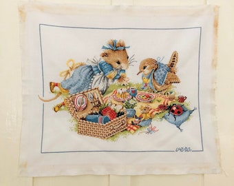 Handmade Cross Stitch Vera the Mouse Veras Picnic Marjolein Bastin Hand Embroidery Ready to Frame Nursery Decor Made in Holland