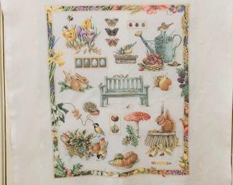 Marjolein Bastin Handmade Cross Stitch Four Seasons Hand Embroidery Vintage Cross Stitch Ready to  Frame