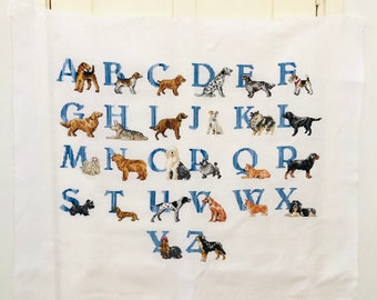 Handmade Crossstitch Dogs ABC Alphabet Large Embroidery Cross Stitch Dogs Dog Lover Gift Ready to Frame