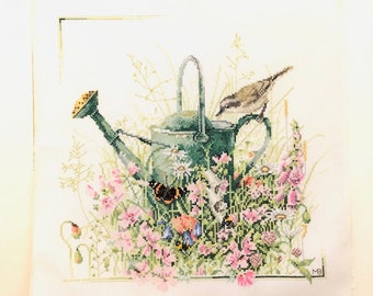 Handmade Cross Stitch Marjolein Bastin Finished Embroidery Watering Can Garden Decor Dutch Design Ready to Frame
