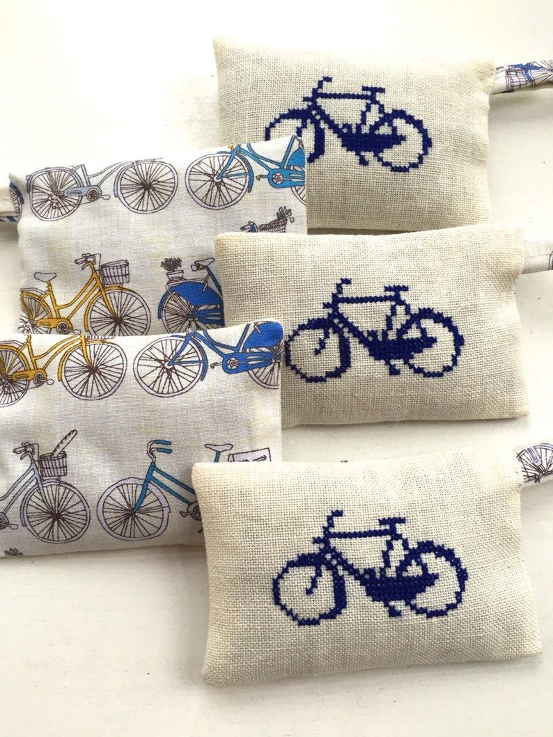 Handmade Cross stitch Dutch Bicycle Holland Amsterdam Lavender Sachet  Souvenir Liberty of London Fabric Handmade Cross Stitch Embroidery