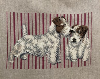 Handmade Crossstitch Two Terriers Hand Embroidery Dog Lovers Gift Ready to Frame Vintage Cross Stitch