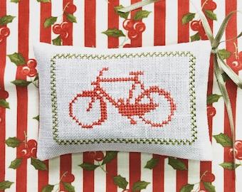 Lavender Sachet Cross Stitch Bicycle Handmade Sachet Holly Cotton Fabric Organic Lavender Scented Sachet Christmas Decor