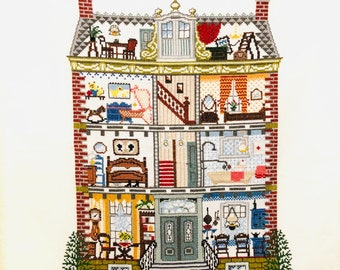 Handmade Crossstitch Dollhouse Dutch House Dutch Interior Ready to Frame