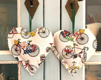Heartshaped Lavender Sachets Set of Two Dutch Bike Bicycle Gift Scented Sachets Handmade Gift