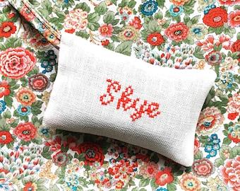 Custom Name Gift Handmade Cross Stitch  Lavender Sachet Liberty of London Fabric