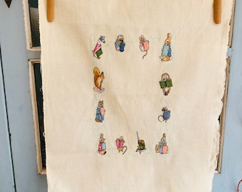 Beatrix Potter Birth Sampler Handmade Cross Stitch Personalised Nursery Decor Baby Gift Ready to Frame