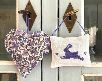 Lavender Sachets Bunny Rabbit Handmade Cross Stitch Set of Two Scented Sachets Woodland Decor Liberty Fabric Lavender Heart