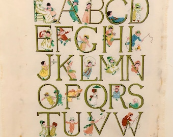 Handmade Kate Greenaway Vintage 70s Cross Stitch ABC Sampler Ready to Frame Made in Holland