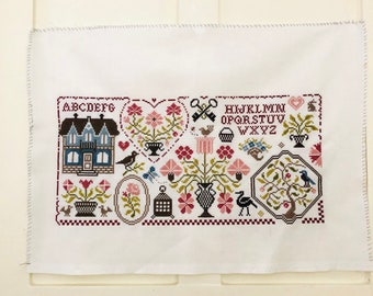 Handmade Cross Stitch Sampler Vintage Cross Stitch Pinks and Greens Hand Embroidery Ready to Frame Decor Pillow