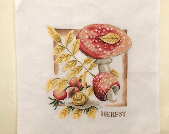 Handmade Autumn Decoration Vintage Cross Stitch Mushroom Toadstool Rosehips Embroidery Ready to Frame