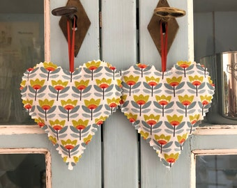 Lavender Sachets Scented Hearts Scandinavian Style Fabric Set of Two Hanging Sachets